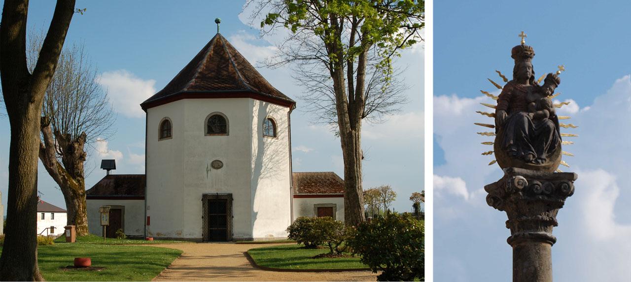 kaple a mariánský sloup2